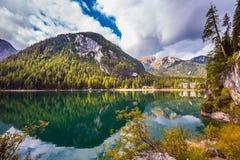 Italy, lake Lago di Braies Stock Image
