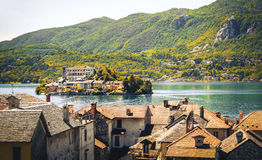 Italy lake orta Novara province Piedmont region antique effect Stock Image