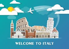 Italy Landmark Global Travel And Journey paper background. Vector Design Template.used for your advertisement, book, banner, templ. Ate, travel business or Stock Images
