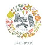 Italy landmark set.Autumn leaves wteath Stock Image