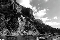 Italy Landscape - Amazing Black and White Amalfi Beach royalty free stock photo