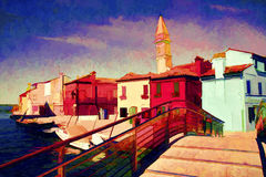 Italy landscape. Oil painting. Royalty Free Stock Images
