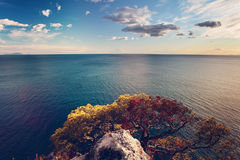 Italy Landscape with Sea and Mountain Stock Photo