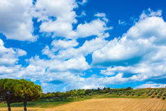 Italy landscape view with clouds on blue sky, Italian fields. Stock Photo