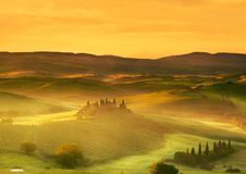 Italy. Landscapes of Tuscany. Italy. Landscapes of Tuscany on the dawn of misty morning royalty free stock photography