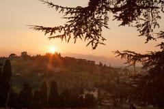 italy Landskap av aftonen Florence Royaltyfri Fotografi