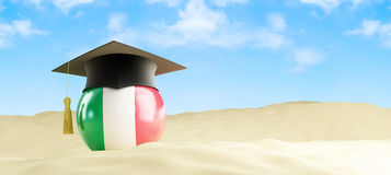 Italy language on holiday, graduation cap at the beach. 3d Illustrations Stock Images