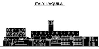 Italy, Laquila architecture vector city skyline, travel cityscape with landmarks, buildings, isolated sights on. Italy, Laquila architecture vector city skyline Stock Images