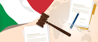 Italy law constitution legal judgment justice legislation trial concept using flag gavel paper and pen. Vector vector illustration