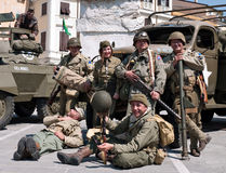 Italy liberated from fascism - WWII re-enactment Royalty Free Stock Photo