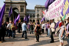 Italy, Liberation Day Violet party protest Stock Photos