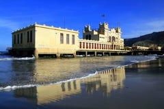 Italy, Liberty building on beach. Palemo stock image