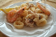 Italy. Liguria. Sea food. On the plate Stock Photography