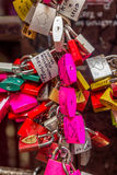 Italy, locks love. In Verona tourists place locks on the railing as a sign of love Royalty Free Stock Photo
