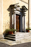 Italy  lombardy     in  the comabbio  old   church  closed bric Royalty Free Stock Photography