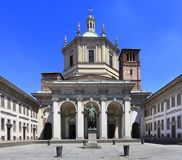 Italy - Lombardy - Milan - basilica of San Lorenzo and the statue of Constantin by the Corso di Porta Ticinese Stock Images