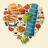 Italy love - heart shape with vector icons. Travel Concept Stock Photos