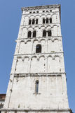 Italy, Lucca, bell tower of the church San Michele in Foro Stock Images