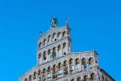 Italy, Lucca, the facade of the church of St. Michael in the hole stock photo