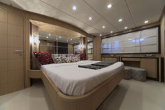 Italy, luxury yacht, master bedroom Stock Photo
