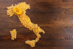 Italy made from pasta on the wooden background Stock Photo