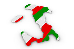 Italy map. Filled with italy flag Royalty Free Stock Photography