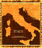 Italy map. On old paper Stock Photos