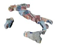 Italy map 3d render with euros Stock Photography