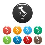 Italy map in black set vector simple Stock Photo