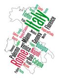 Italy map and cities. Italy map and words cloud with larger cities stock illustration