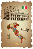 Italy map and Colloseum Royalty Free Stock Photos