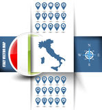 Italy map contour with GPS icons Royalty Free Stock Image