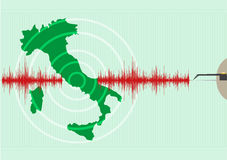 Italy Map Earthquake. Epicenter recorded with a seismic mornitoring device. Editable Clip Art. Italy Map Earthquake. Editable Clip Art Stock Photo