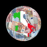 Italy map euros globe Royalty Free Stock Images