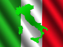Italy map on flag Stock Image
