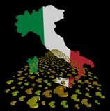Italy map flag with euros foreground illustration vector illustration