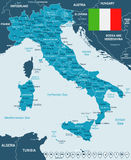 Italy - map and flag - illustration Stock Photos