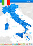 Italy - map and flag - illustration Royalty Free Stock Images