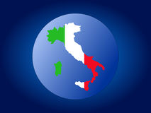 Italy map flag sphere stock illustration