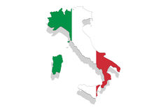 Italy map and flag on white background Royalty Free Stock Photo