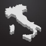 Italy map in gray on a black background 3d Royalty Free Stock Photo