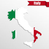 Italy map with Italy flag inside and ribbon Royalty Free Stock Photography