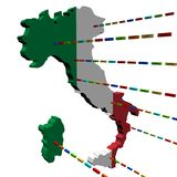 Italy map with lines of containers Royalty Free Stock Photography