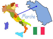 Italy map with Marche region Stock Images