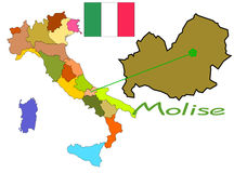 Italy map with Molise region Royalty Free Stock Photos