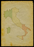 Italy map on old paper. Italy map with flag inside engraved on a old paper page clipping path of the map is included stock illustration