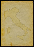 Italy map on old paper Royalty Free Stock Photo