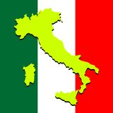 Italy map over national colors Royalty Free Stock Photography