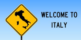 Italy map on road sign. Wide poster with Italy country map on yellow rhomb road sign. Vector illustration vector illustration