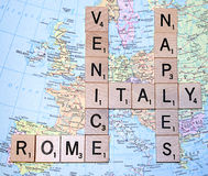 Italy Map with Scrabble Letters. Map of Italy with Scrabble letters of Italy with major cities Royalty Free Stock Photography